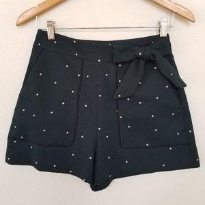 Zara shorts polka dot bow black small High waist